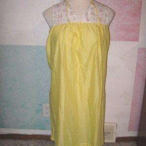 Vintage Katz Yellow White Lace Chest Pajama Gown 4
